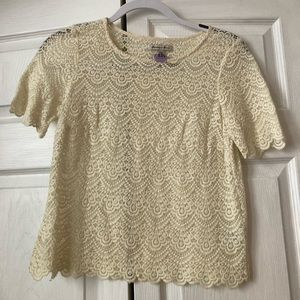 Madewell ivory lace top XS